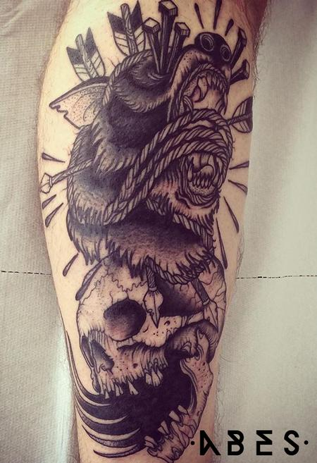 wolf and skull Tattoo Design