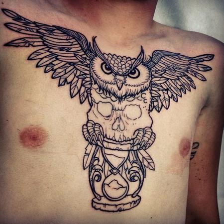 owl with skull and sendglass Tattoo Design Thumbnail