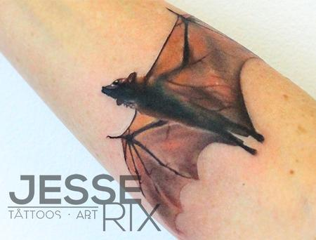 Jesse Rix - Bat Tattoo