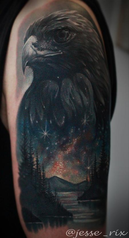 Eagle Space Lake Tattoo Tattoo Design Thumbnail