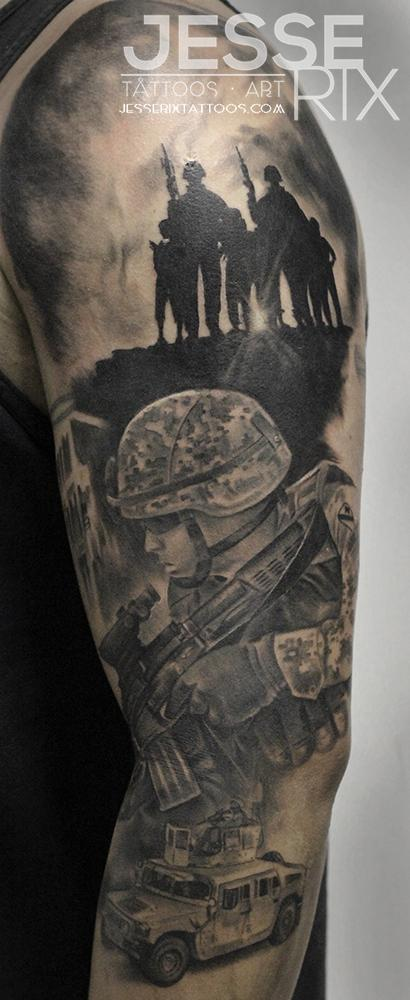 Marine Sleeve Tattoo