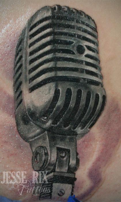 Old Microphone Tattoo Design Thumbnail