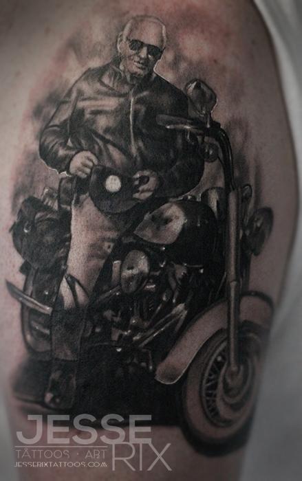 Tattoos - Harley Davidson Portrait Tattoo - 76636