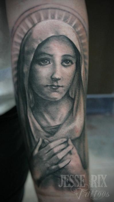 Jesse Rix - virgin Mary Tattoo