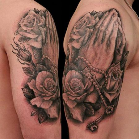 Tattoos - praying hands and roses - 68667