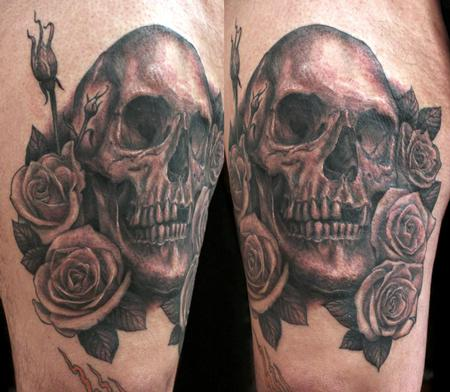 Tattoos - skull and roses - 58616