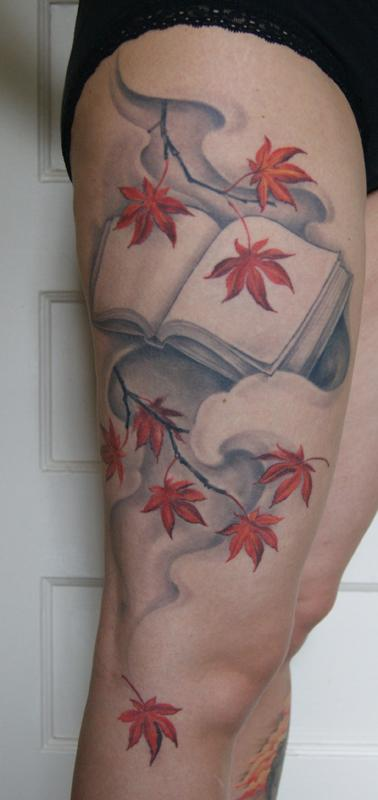 Tattoos - Blank book with japanese maple leaves - 79058