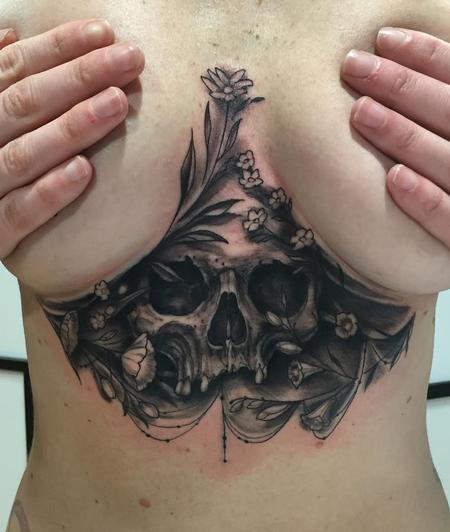 Shawn Hebrank - Underboob Skull Tattoo