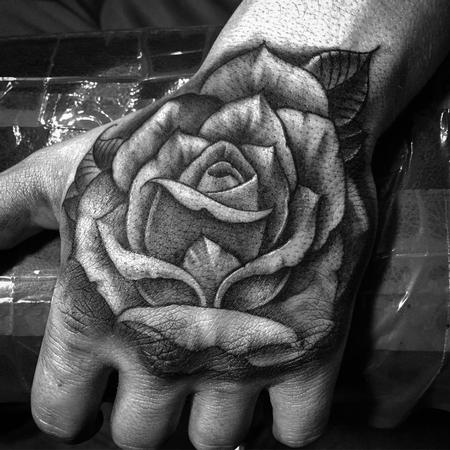 Tattoos - Freehand Rose Hand Tattoo - 115963