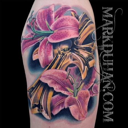 Tattoos - CROSS AND LILIES - 92121
