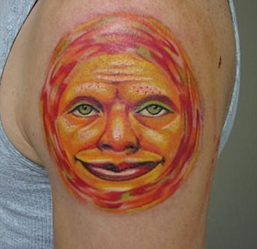 Tattoos - sun face ,custom - 25713