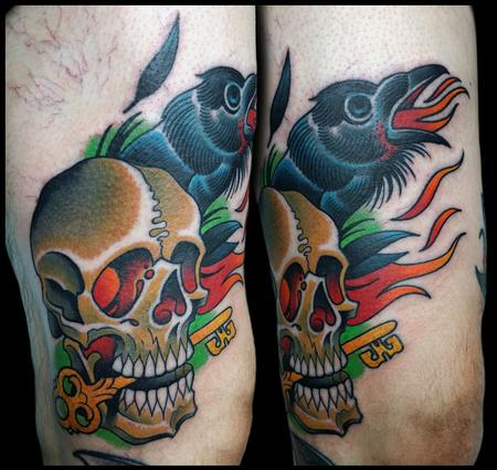 Tattoos - skull and raven - 99262