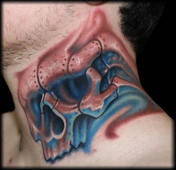 St jude by jeff ensminger tattoonow for Skull neck tattoos