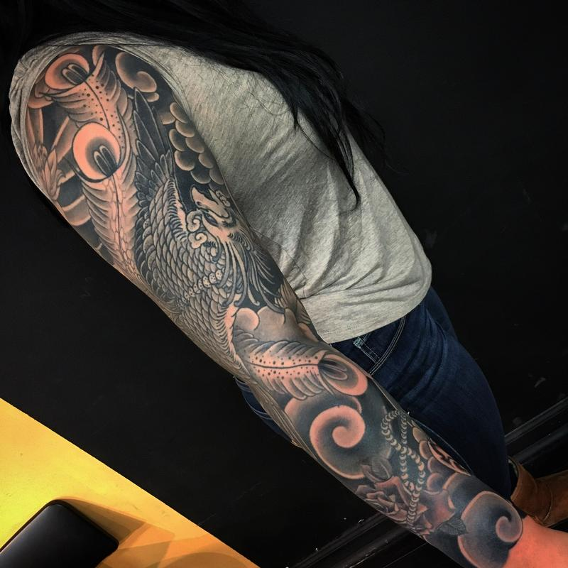 Black and grey phoenix sleeve by dana helmuth tattoonow for Solid state tattoo