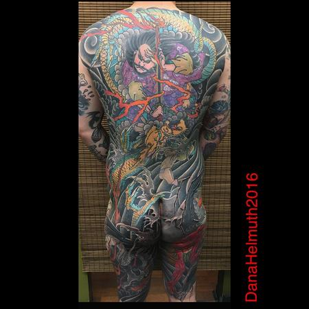 Japanese ninja sorcerer with dragon backpiece tattoo by for Solid state tattoo