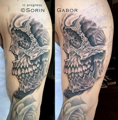 Sorin Gabor - realistic and graphic black and gray sleeve tattoo in progress skull detail