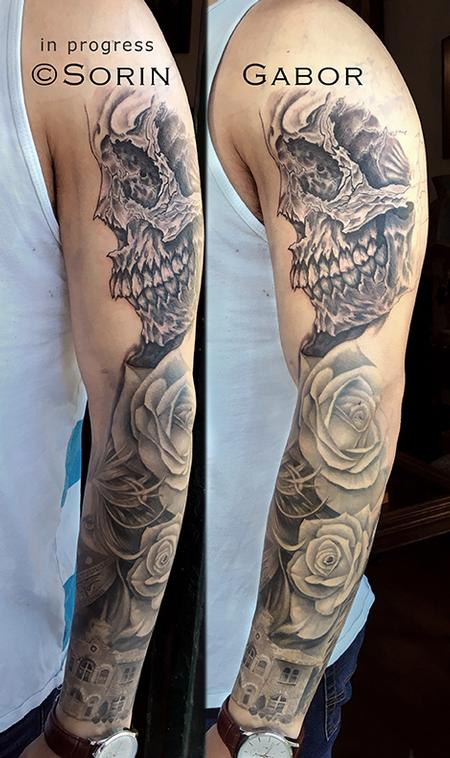 Tattoos - realistic and graphic black and gray sleeve tattoo in progress - 131436