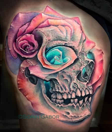 Sorin Gabor - realistic color skull and multiple rose morph tattoo
