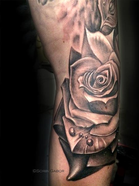 Tattoos - realistic black and gray rose tattoo - 131431