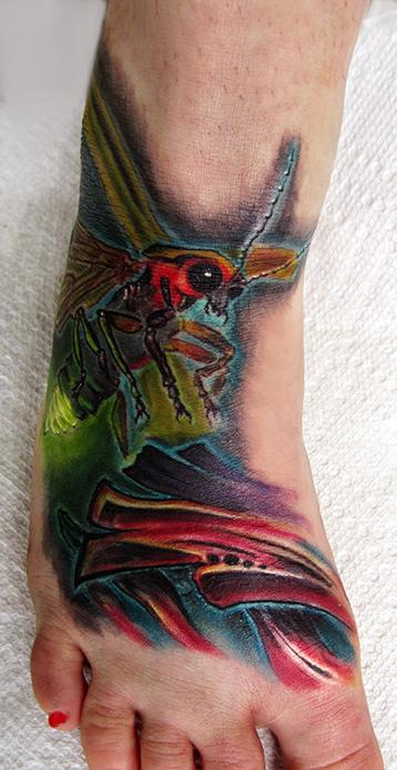Tattoos - Lightning bug bio abstract foot - 85708