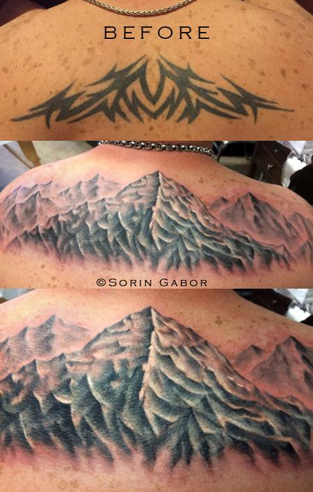 Tattoos - Realistic black and gray mountains over a tribal coverup - 112096