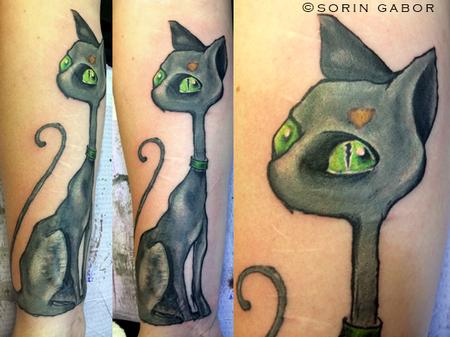 Tattoos - Illustrative color Vincent cat  - 112097