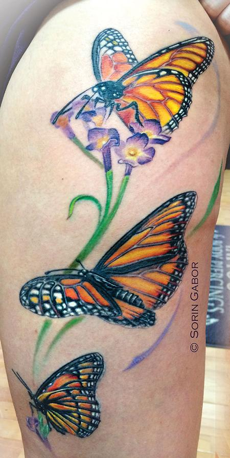 Tattoos - Realistic color monarch butterfly tattoo on thigh - 93754