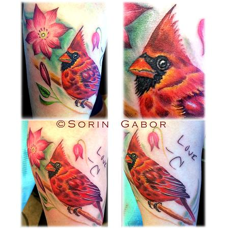 Realistic color cardinal memorial tattoo on forearm Tattoo Design Thumbnail