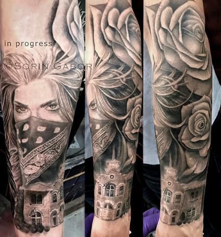 Tattoos - realistic black and gray girl face w/bandana, roses, and Sonoma City Hall building tatoo sleeve - 131425