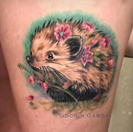 Tattoos - whimsical realistic color feminine hedgehog tattoo with flowers - 131426