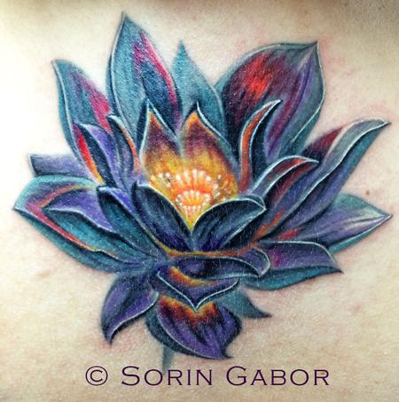 Tattoos - realistic color lotus coverup over old scarred tattoo - 95503