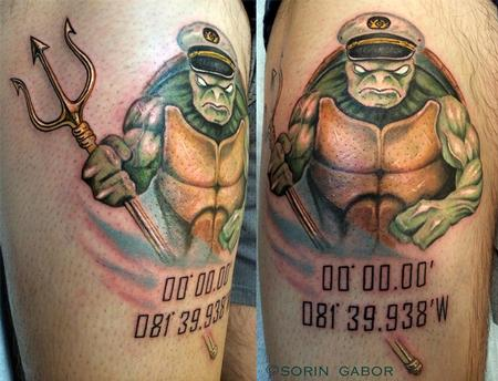 Tattoos - Jacked reaslisic color turtle with trident - 120418