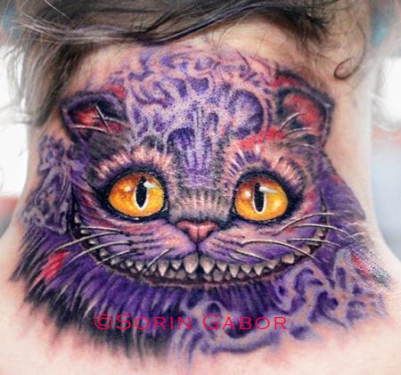 Tattoos - realistic color cheshire cat tattoo on neck - 98475