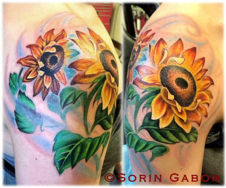 Realistic color sunflower shoulder tattoo Tattoo Design Thumbnail