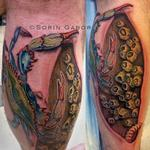 Realistic blue crab tattoo on leg with barnacles on dock and skin rip Tattoo Design Thumbnail