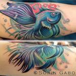Realistic feminine color beta fish memorial tattoo Tattoo Design Thumbnail