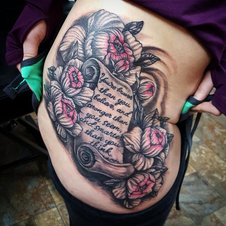 Flowers and Lettered Scroll Tattoo Design Thumbnail