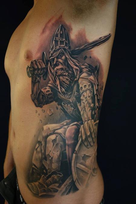 Black/grey portrait of myth Holger Danish,  Tattoo Design Thumbnail