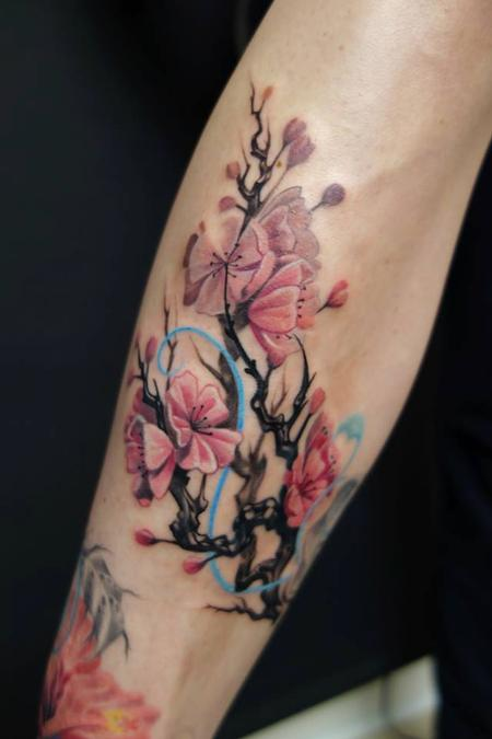 Tattoos - cherry blossom, custom leg in progress  - 89790