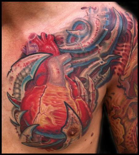Tattoos - anatomical heart and bio mech tattoo - 57744