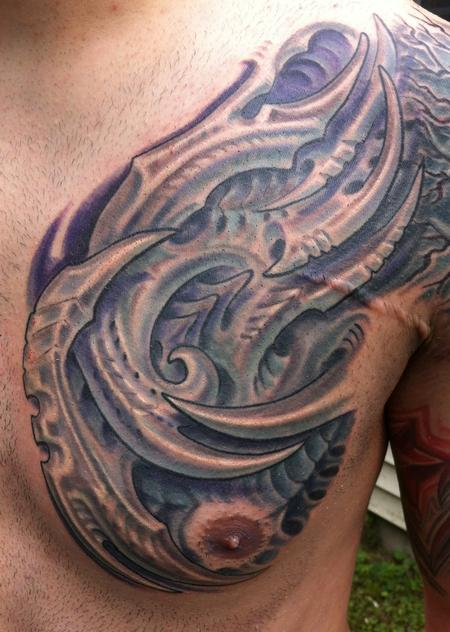 Tattoos - Bio mech chest tattoo - 79991