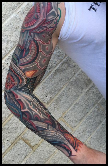 Robotic anime biomech sleeve tattoo Tattoo Design