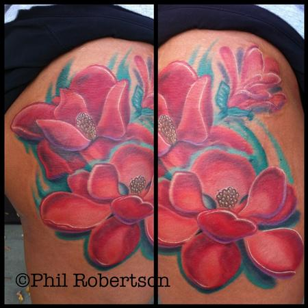 Tattoos - Magnolia flower color tattoo - 79992