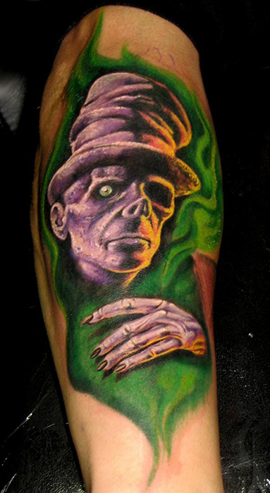 Tophat zombie by stefano alcantara tattoonow for Custom tattoo armrest for sale