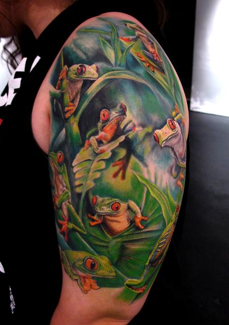 Stefano Alcantara - Tree Frogs half Sleeve tattoo