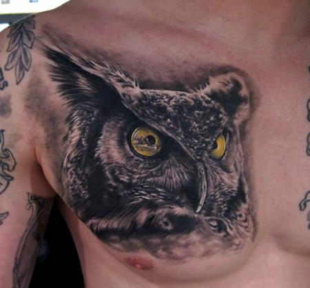 Tattoos - Owl tattoo - healed - 64216
