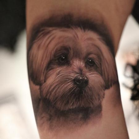 Memorial Dog Portrait Tattoo Design Thumbnail