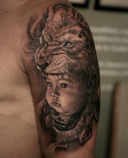 Son Lion Headdress Tattoo Design Thumbnail