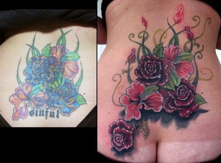 Lower Back Flower Tattoos Cover UPS