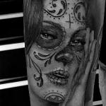 Day of the dead portrait Tattoo Design Thumbnail
